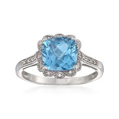 2.65 Carat Blue Topaz Ring With Diamonds in 14kt White Gold