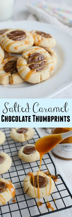 Salted Caramel Chocolate Thumbprints - a delicious shortbread cookie filled with chocolate and drizzled with salted caramel! These are going to become your new favorite cookie recipe!