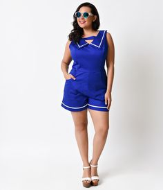 Plus Size 1950s Style Blue Nautical Sailor Sleeveless Retro Stretch Romper
