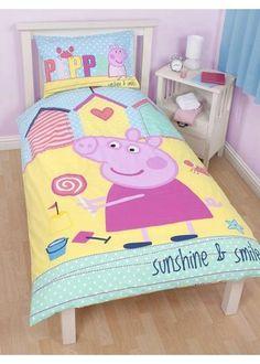 Peppa Pig Bedding - Seaside - http://www.childrens-rooms.co.uk/peppa-pig-bedding-seaside.html #peppapig #themedbedroom #girlsbedding