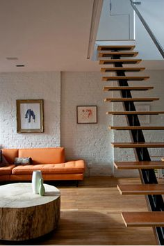 Staircase and couch, love.