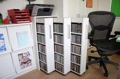 Diy Dvd Storage, Movie Storage, Storage Cabinet With Drawers, Box Shelves, Record Storage, Storage Cabinets, Shelving, Storage Units, Wall Storage