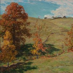 """The Red Oak,"" Willard Leroy Metcalf, ca. 1911, oil on canvas, 24 x 24"", Thomas Colville Fine Art."
