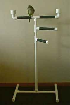 Easy to make. All pvc pipes used. Use this as an example to make a different version of this... (PARROT PLAY GYM bird perch triple tower stand by herbiethebirdie)