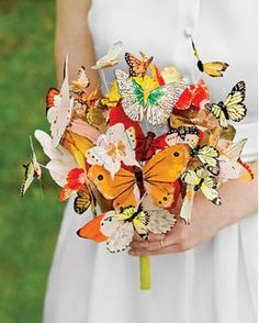 Love this unique wedding bouquet! Butterfly Bouquet by Martha Stewart Weddings - Be a Stunning Bride: 20 Most Beautiful Wedding Bouquet Ideas - EverAfterGuide Quirky Wedding, Nontraditional Wedding, Unique Weddings, Trendy Wedding, Boho Wedding, Dream Wedding, Hipster Wedding, Unconventional Wedding Dress, Practical Wedding