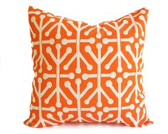 Decorative Throw Pillow Cover orange and natural Aruba print