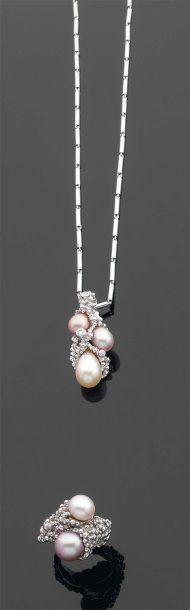 Gilbert Albert Demi-Parure 1980s. Pearls, white gold, diamonds. (Pierre Bergé & Assoc.)