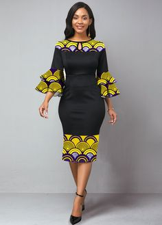 Tribal Print Flare Sleeve Keyhole Neckline Dress Buy it Now :D Short African Dresses, Latest African Fashion Dresses, African Print Dresses, African Print Fashion, Women's Fashion Dresses, Women's Dresses, African Dress Styles, Ankara Dress Styles, African Style Clothing
