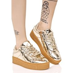 1f3d703fa4e Gold Low Top Creeper Sneakers ( 38) ❤ liked on Polyvore featuring shoes