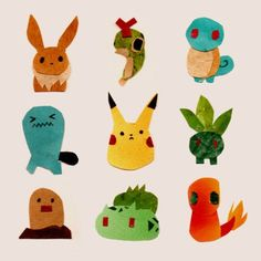 Pokemon! They sort of look like Eric Carle illustrations!