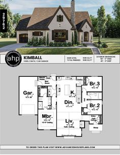 Lovely One Story Cottage Do you want a modern plan that still has old-world charm? Modern Cottage Style, Cottage Style Living Room, Cottage Style House Plans, Cottage Floor Plans, Cottage Style Decor, Cottage Style Homes, Cottage House Plans, Sims House Plans, House Plans One Story