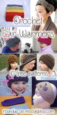 Crochet Ear Warmers - stay warm and look good! No more hat hair! Get links to all these free patterns on mooglyblog.com! #crochet #free #earwarmers
