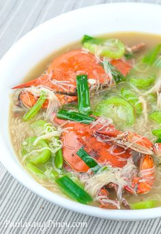 Crab with Misua and Patola is a simple yet flavorful Filipino soup dish. This can be prepared using any type of edible crab, some Chinese vermicelli noodles (also called misua or miswa), and young loofah (or patola). The crab and fish sauce gives this dish its distinct taste.