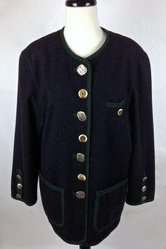 Steinbock Jacket Womens Black Cashmere Wool Long Sleeve Cardigan Austria L #Steinbock #BasicJacket