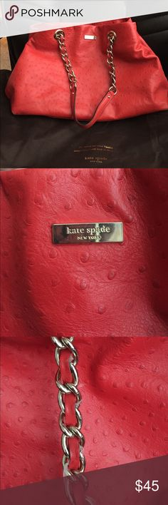 Red Kate Spade 'Ostrich' Handbag Super cute red Kate Spade Handbag in ostrich leather. In great condition with minor wear and tear, some fraying & a stain on the most interior pocket. MAKE ME AN OFFER or BUNDLE! kate spade Bags Shoulder Bags
