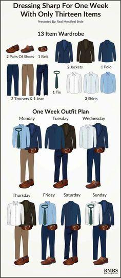 Volume de peças para uma semana de roupas sem repetir look.