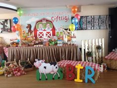 Çiftlik temalı 1 yaş doğum günü partisi