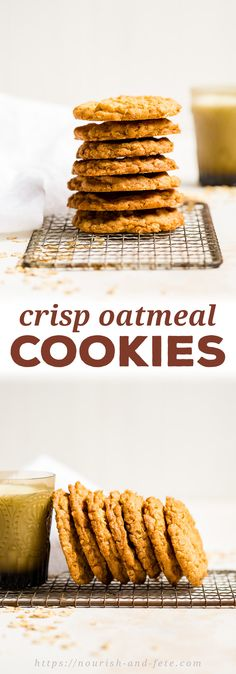 An easy recipe for crisp oatmeal cookies with an ever-so-slightly chewy center. Perfect for a simple sweet snack and dunking into a cold glass of milk! Old Fashioned Oatmeal Cookies, Oatmeal Crisp, Cookie Crisp, Cinnamon Oatmeal, Oatmeal Cookie Recipes, Oatmeal Cookies Crispy, Healthy Food Choices, Healthy Recipes, Deserts