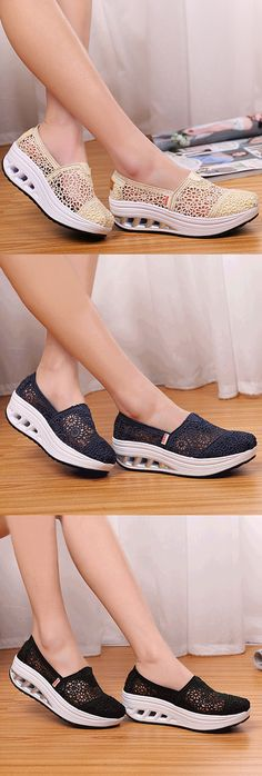 US$19.75 Lace Breathable Platform Rocker Sole Shake Shoes For Women