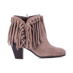 Ankle Boot Feminina Cano Curto Com Franja Amêndoa - compredeboa