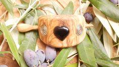 Olive Wood hair buckle inlaid with black onyx by ellenisworkshop, $55.00