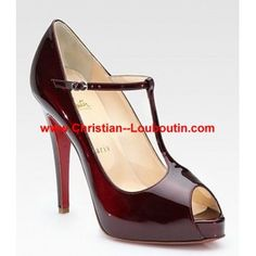 Christian Louboutin Patent Leather Peep Toe Pumps