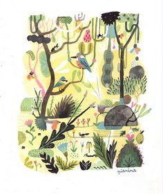 by vincent pianina Forest Illustration, Landscape Illustration, Children's Book Illustration, Botanical Illustration, Ouvrages D'art, Art Graphique, Art Design, Lettering, Illustrations Posters