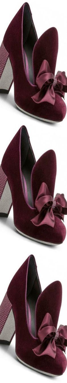 Rene`Caovilla Fall Winter 2017 Velvet Court Shoe With Bow Detail
