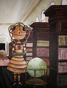 steampunk robot librarian.  quirky, weird, and fun.
