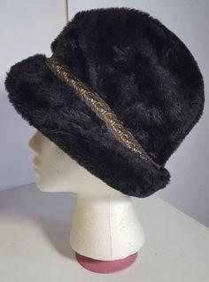 0b3fccbaf9d11 Vintage 1950s Brown Faux Fur Hat Mens Size Medium Lined Cossack Russian  9525  Unbranded