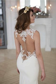 See Through Lace Mermaid Wedding Dresses, Sexy Long Custom Wedding Gowns, Affordable Bridal Dresses, 17099
