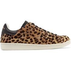 Isabel Marant Étoile Bart leopard-print calf hair sneakers ($242) ❤ liked on Polyvore featuring shoes, sneakers, animal print, leopard sneakers, black shoes, laced up shoes, leopard calf hair shoes and black laced shoes