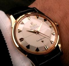 Stunning Vintage Omega Constellation Piepan Chronometer In Gold Circa 1950s - https://omegaforums.net Omega Constellation Piepan Chronometer Omegaconstellation Vintage Menswear Mensfashion Wristshot Womw Wruw horology Classic Timeless Watches Watchporn Fashion style Preppy Montres Uhren Orologio