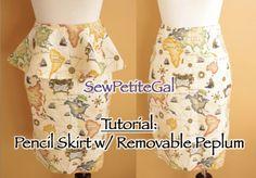 SewPetiteGal: Pencil Skirt Tutorial.  Hate the peplum, but love the trick for the back slit.