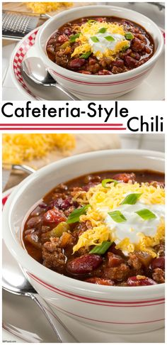 There's nothing more comforting than a bowl of our Cafeteria-Style Chili. Th… There's nothing more comforting than a bowl of our Cafeteria-Style Chili. This five-star beef and bean chili is a great go-to recipe. Easy Soup Recipes, Chili Recipes, Mexican Food Recipes, Crockpot Recipes, Cooking Recipes, Korma, Biryani, School Chili Recipe, School Lunch Recipes