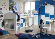 Kinderzimmer komplett Alpinweiß Marineblau 5725. Buy now at https://www.moebel-wohnbar.de/kinderzimmer-komplett-sunny-jugendzimmer-3-tlg-weiss-marineblau-5725