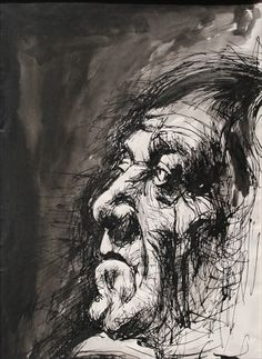 Pen & Ink drawing of Oskar Kokoschka (Drawings from the Ontario College 1973-74)