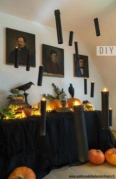 DIY déco Halloween : bienvenue dans ma maison hantée Diy Deco Halloween, Tube Carton, Table Decorations, Home Decor, Black Tablecloth, Family Boards, Decoration Home, Room Decor, Interior Design