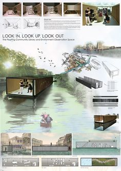 The layout and flow of this board really appeals to me visually. I like that the colors are consistent through it and that there are not really harsh stops with separations. Architecture Design, Floating Architecture, Container Architecture, Architecture Panel, Architecture Graphics, Architecture Drawings, Presentation Board Design, Architecture Presentation Board, Project Presentation