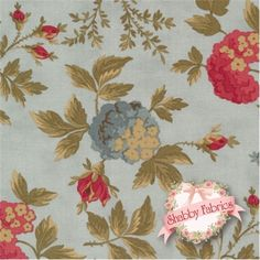"Double Chocolat 4090-23 Frost by Moda Fabrics: Double Chocolat is a collection by Moda Fabrics. 100% cotton. 43/44"". This fabric features multiple flowers in red and blue on a light blue background."