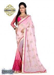 Glossy Pink Coloured Saree