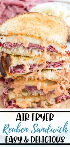 Making this Reuben Sandwich Recipe in your Air Fryer leaves the bread crispy and delicious. Filled with corned beef, swiss cheese, Thousand Island dressing, and sauerkraut you can't rest going back for another taste. Air Fryer Dinner Recipes, Air Fryer Recipes Easy, Appetizer Recipes, Appetizers, Corned Beef Sandwich, Reuben Sandwich, Air Fryer Healthy, Healthy Food, Best Sandwich Recipes