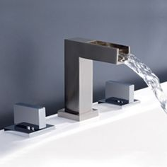 Contemporary Two Handles Brushed Nickel Widespread Waterfall Bathroom Sink  Faucet