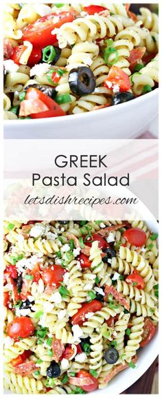 """Healthy switch - Zoodles or the new """"veggie pasta"""" Greek Pasta Salad: Rotini pasta is combined with tomatoes, peppers, olive, feta and pepperoni, then tossed in an olive oil and vinegar dressing in this easy-to-make pasta salad recipe. Feta Pasta, Healthy Pasta Salad, Greek Salad Pasta, Easy Pasta Salad, Healthy Pasta Recipes, Healthy Pastas, Pasta Salad Recipes, Recipe Pasta, Pasta Dishes"""