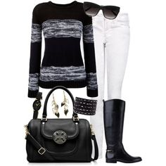 A fashion look from December 2012 featuring Armani Jeans sweaters, MANGO jeans and Tory Burch boots. Browse and shop related looks.