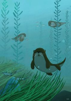 Otters on Behance Cgi, Underwater Bubbles, Grass Carp, Bubble Drawing, Otter Love, Storyboard Artist, Illustrations, Creature Design, Otters