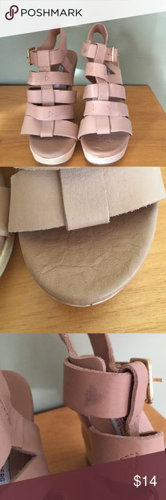 Diane von Furstenberg Multi-colored Wedge. Grey, tan, and cream Multi-colored wedge. Has some slight imperfections and took them into consideration when pricing. These shoes are new and unused. Made of leather and wood heel. Diane von Furstenberg Shoes Wedges
