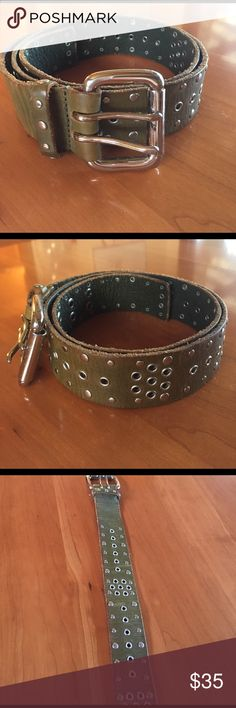 Army green belt Army green embellishments silver studs leather belt Accessories Belts