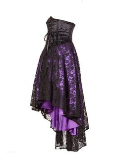 Purple Corset Lace High-Low Gothic Party Dress