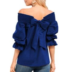 Sexy Off Shoulder Bowknot Blouse Spring Summer Strapless Women Tops Slash Neck Shirts Casual Loose Blusas Plus Size Off Shoulder Tops, Off Shoulder Blouse, Mode Outfits, Casual Outfits, Spring Shirts, Bow Blouse, Black Blouse, Plus Size Blouses, Blouse Styles